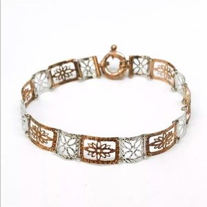 Jewelry - 14K White Gold On 925 Silver Link Bracelet